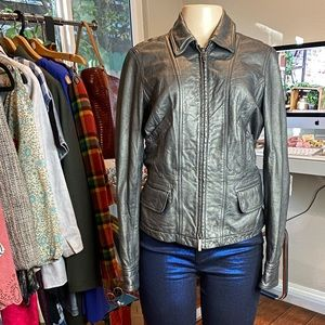 •VINCE• Gray Genuine Leather Metallic Jacket